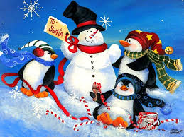 winter penguins playtime xmas new year christmas paintings cute