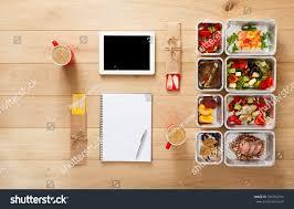 healthy restaurant food couple diet plan stock photo 536932474