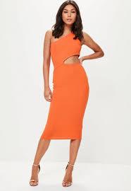 orange one shoulder cut out waist midi dress missguided