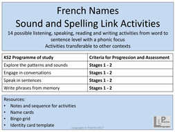 ks2 french sound and spelling link activities names by