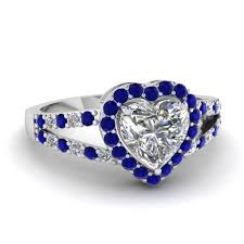 blue and white engagement rings shaped halo split shank ring with blue sapphire in