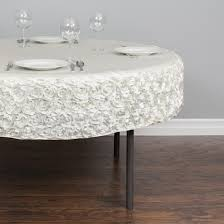 60 in round rosette satin table cover ivory party specialties