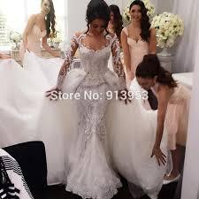 2 wedding dresses custom made luxury ywd100 sleeve 2 in 1 mermaid lace wedding