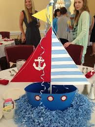 Nautical Baby Shower Decorations Nautical Baby Shower Centerpiece Ideas Blue White Stripe Pattern