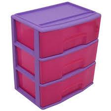 3 Bin Cabinet 3 Drawer Wide Cart Purple Sky Storage Plastic Organizer Rolling