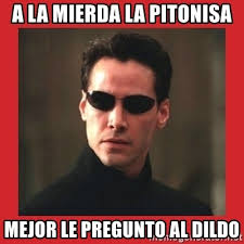 Meme Dildo - a la mierda la pitonisa mejor le pregunto al dildo neo matrix
