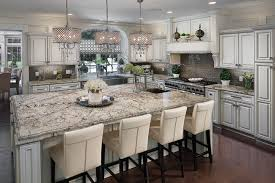 wide kitchen island with beautiful delicatus granite countertop by