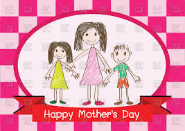 happy mother u0027s day card with family vector image 86997 u2013 rfclipart