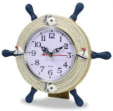 nautical clocks boat steering wheel helm decoration sits with