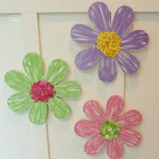 wood flowers painted wood flowers with button centers the happy housie