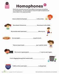 2nd grade homophone worksheets education com