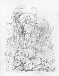 frank cho totally awesome hulk 5 cover rough sketch frank cho