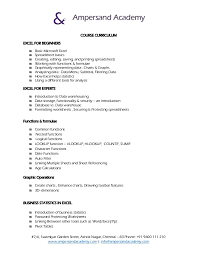 Legal Secretary Resume Samples by Business Statistics With Excel Basic And Advance Curriculum