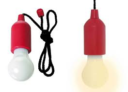 Red Led Light Bulb by Portable Retro Pull Cord Led Powered Light Bulb Task Lamp Red