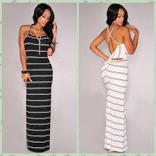 2016 new fashion women twist cut out back black and white striped
