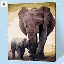 frameless digital painting by number elephant mother son acrylic paint abstract modern wall art canvas painting