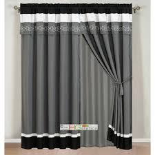 Black And Gray Curtains Hg Station 4 Pc Embroidery Scroll Clover Spade Floral Curtain Set