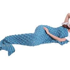 plaid turquoise pour canapé adults femme couverture queue de sirène tricoté douce et écologique