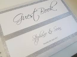 guest books glitter and white themed wedding guest book