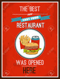 affiche cuisine retro newly opened fast food restaurant vintage advertisement
