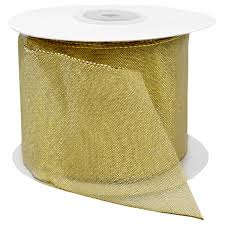 metallic gold ribbon gold sheer metallic wired ribbon the container store