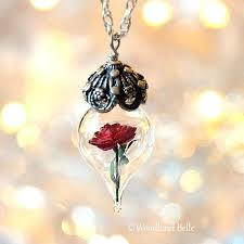 rose glass necklace images Classic red rose flower terrarium glass vial necklace beauty etsy jpg