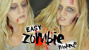 easy zombie halloween makeup tutorial youtube