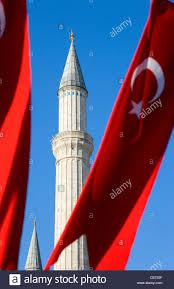 Red White Flag With Blue Star Turkey Istanbul Sultanahmet Haghia Sophia Minaret And Turkish