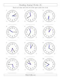 reading time on 12 hour analog clocks in 5 minute intervals a