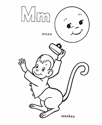 abc alphabet coloring sheets m m is for monkey moon