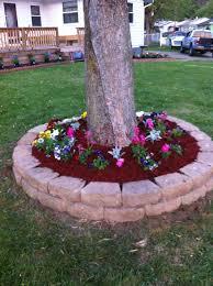 flower beds around trees designs