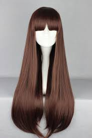 newest 70cm long straight dark brown cosplay wigs with neat bangs