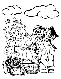 fall color pages autumn coloring pages with pumpkin for kids
