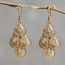 Cascading Bead Chandelier Earrings Express Gold Vermeil Handcrafted Filigree Chandelier Earrings Raindrop