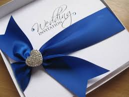 royal blue ribbon blue wedding invitation with heart embellishment other colours