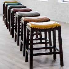 Furniture Bar Stool Chairs Backless by Furniture Leather Chair With Nailhead Trim Decorative Nails