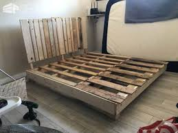 Side Bed Frame Four Pallet Bed Frame With Side Table 1001 Pallets