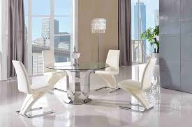 Z Dining Chairs by Naples Desginer Round Glass Dining Table U0026 4 Z Zed Ivory Chairs