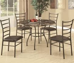marble and metal dining table metal faux marble dining table and chair set by coaster 150112 5 piece