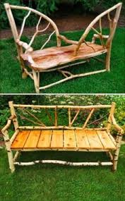 Rustic Log Benches - handmade garden benches adding rustic vibe to backyard designs