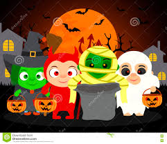 halloween background vector trick or treat vector halloween background with kids stock vector