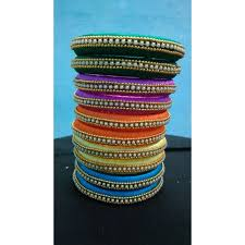 bracelet made with thread images Bangle pair made of silk thread available in different colours 02 jpg