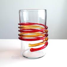Blenko Vase Blenko Glass Myers 6710a Tangerine Honey Double Spiral Vase On A