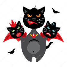 halloween cat background vector halloween three headed dragon cat cartoon illustration