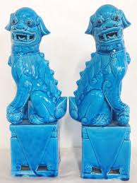 blue foo dogs pair of regency 1950s turquoise foo dogs at 1stdibs