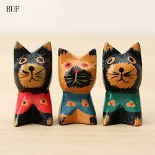 wooden cat buf southeast asiastyle wooden cat statue creative handmade home