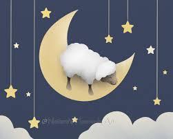 Stars Home Decor by Sheep Childrens Art Print Baby Nursery Room Decor Moon And