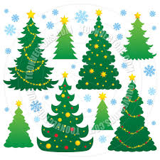 cartoon christmas tree silhouette theme by clairev toon vectors