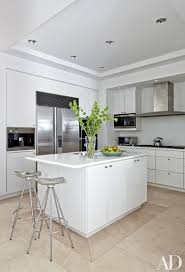 foxy white kitchen idea with modern furnishings and light wood