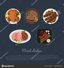 id d o cuisine icons of dishes on a plate in style top view